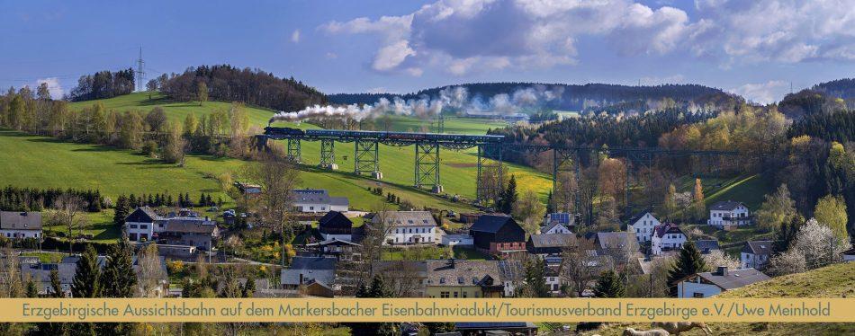 Erzgebirgische Aussichtsbahn auf dem Markersbacher Eisenbahnviadukt ©Tourismusverband_Erzgebirge_eV_bearb_schmal_2